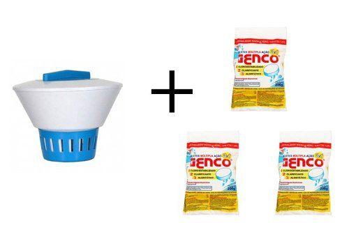 Kit Flutuador de cloro para piscina Com 3 Pastilhas Tablete de Cloro Tripla Ação Genco 200g