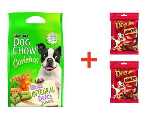 Kit de Petisco para cães: Biscoito Integral Dog Chow Duo 1kg + 2 Bifinhos Doguitos Carne