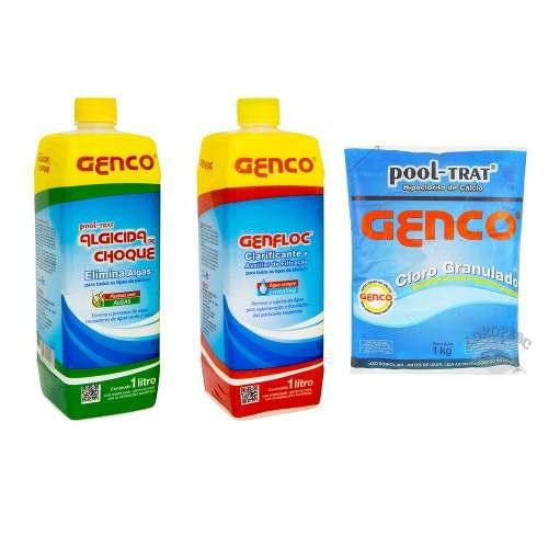 Combo Clarificante + Algicida Choque + Cloro Genco 1kg
