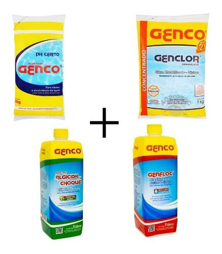 Kit Limpeza De Piscina Genco Cloro Ph Algicida Clarificante