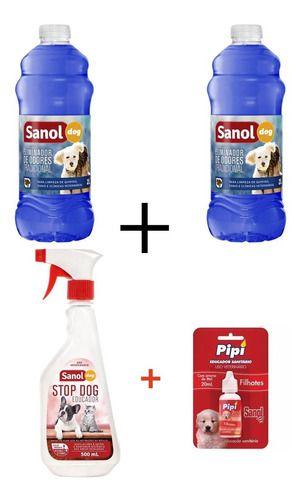 Combo 2 Desinfetantes Sanol 2 Litros + Adestrador canino Afasta Xixi Stop Dog + Atrativo Canino Pode Xixi Pipi Pode Sanol