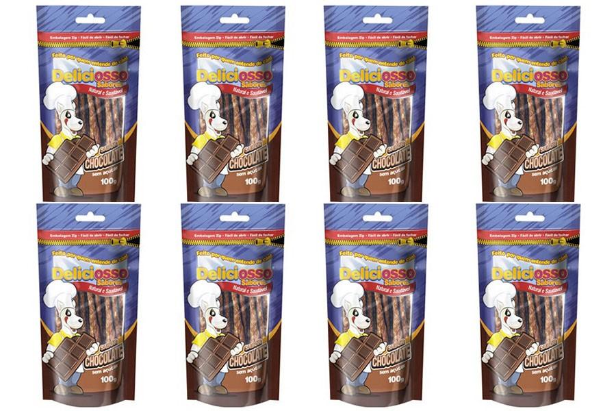 Combo Petisco Palitinho Ossinho Para Cães Deliciosso Palito Fino Chocolate - 8 Pacotes