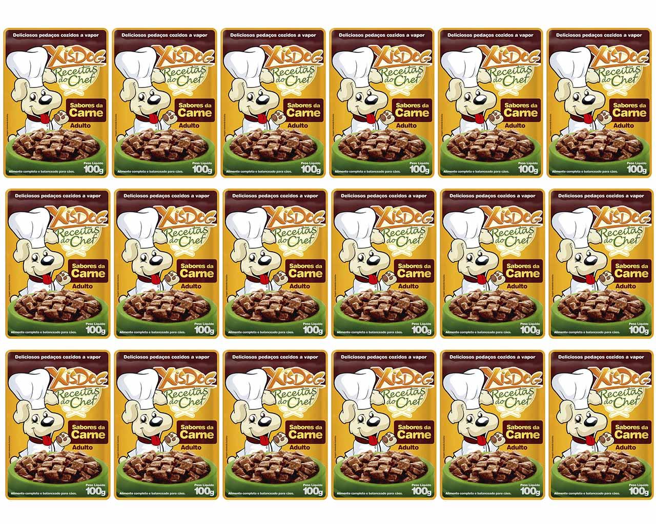 Sachê de Carne Alimento úmido para cães Adulto 100g Receitas do Chef XisDog Caixa 18 unidades 100g