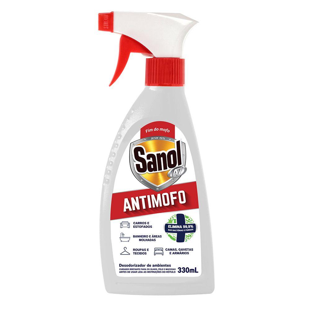 Anti Mofo Desodorizador de ambientes Sanol 330 ml Bactericida e Antimofo Pulverizador Spray 3 unidades