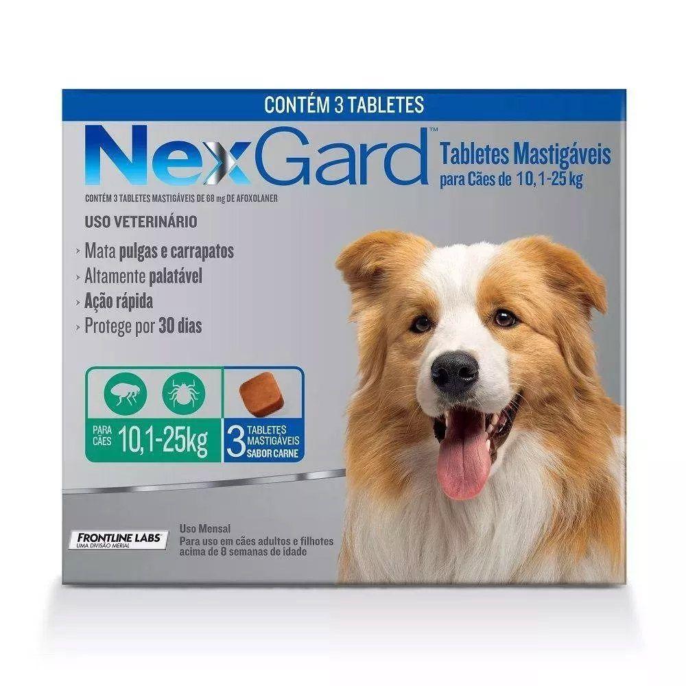 Anti pulgas e anti carrapato NexGard Mata Pulgas e Carrapatos G 10,1 a 25kg  3 Tabletes
