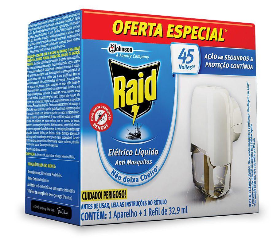 Aparelho Repelente Elétrico Raid Liquido 45 Noites + Refil 32,9ml - Oferta Especial