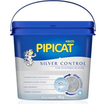 Areia Sanitária Higiênica para gatos Pipicat Silver Control Balde 4KG
