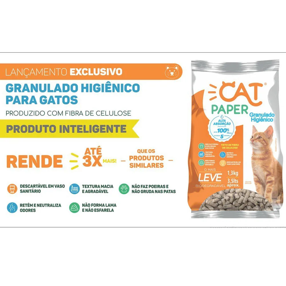 Areia Sanitária Granulado Higiênico para Gatos Cat Paper 3kg (descarte em vaso sanitário)