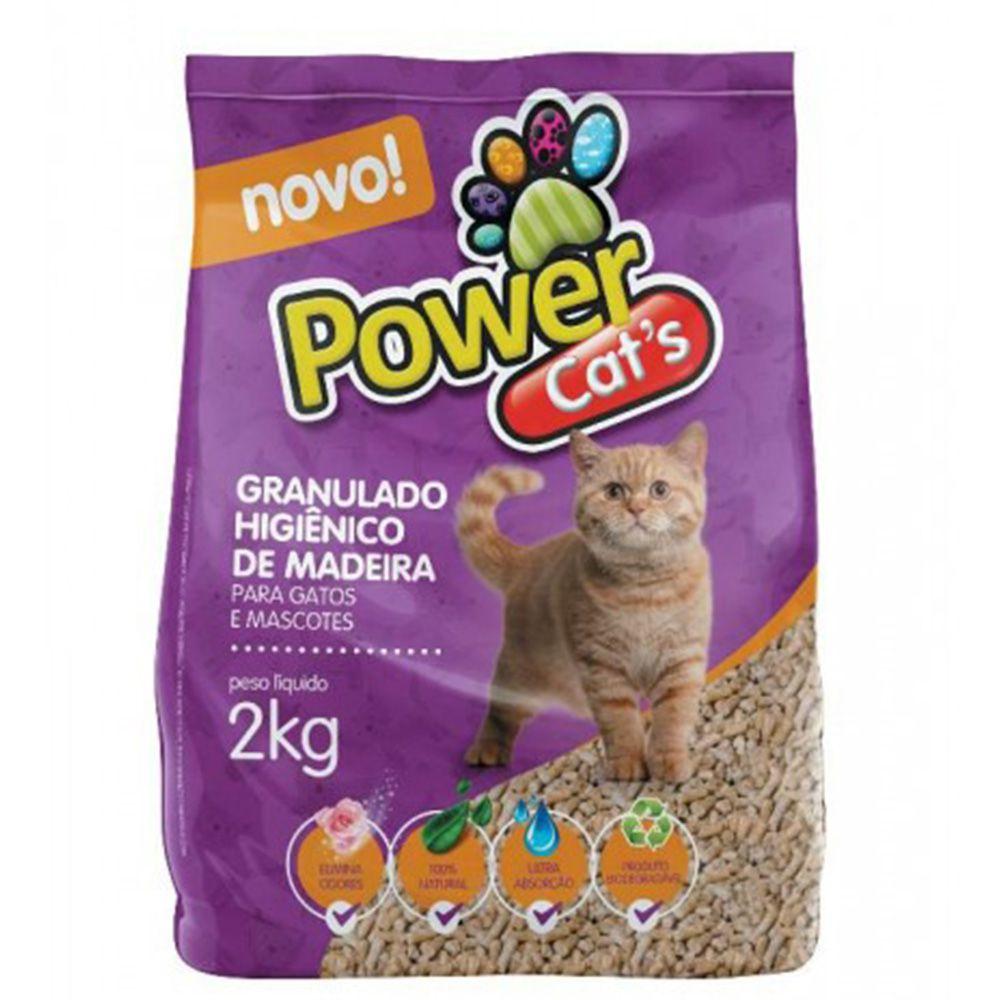 Areia Sanitária Higiênica Granulado de Madeira Powercats 2kg para Gatos