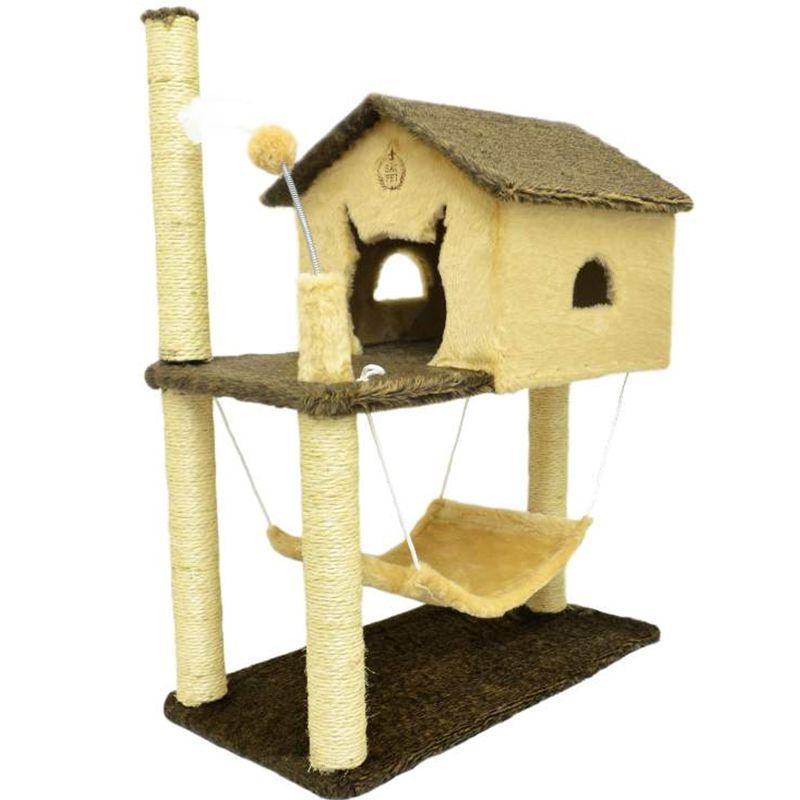 Arranhador Brinquedo Casa para Gatos dois andares com rede de pelúcia House Playground para gatos Bege Sao Pet
