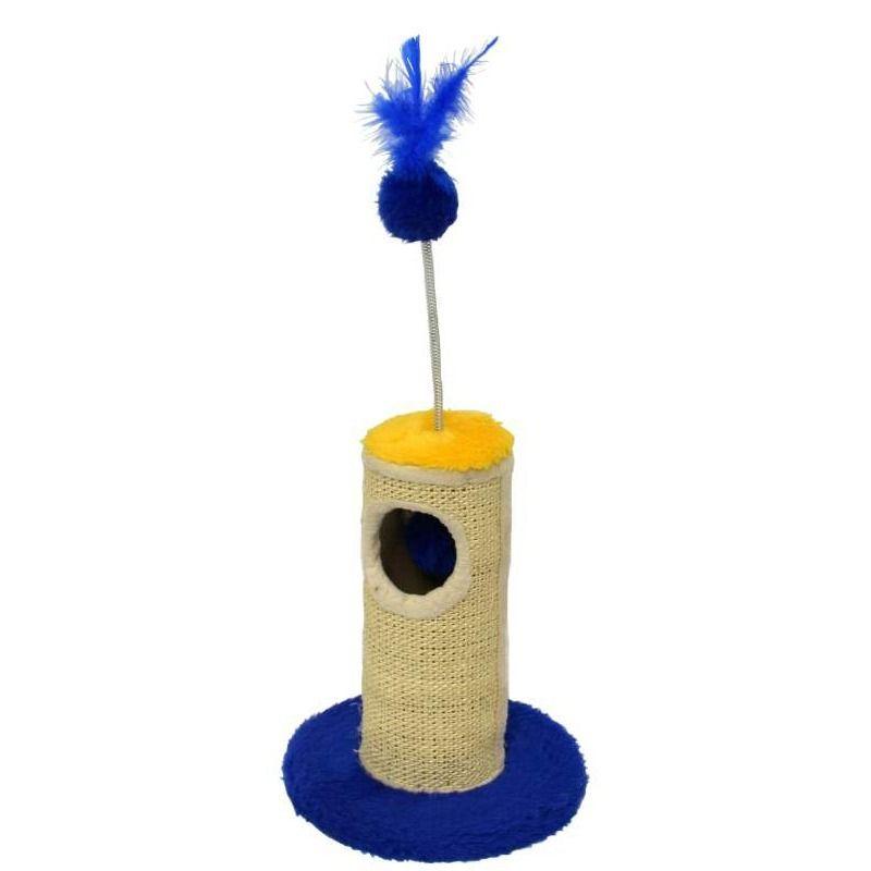 Arranhador brinquedo para Gatos com bolinha pêndulo interna e chocalho joão-bobo externo  Pelúcia Sisal Horus São Pet 24x33cm