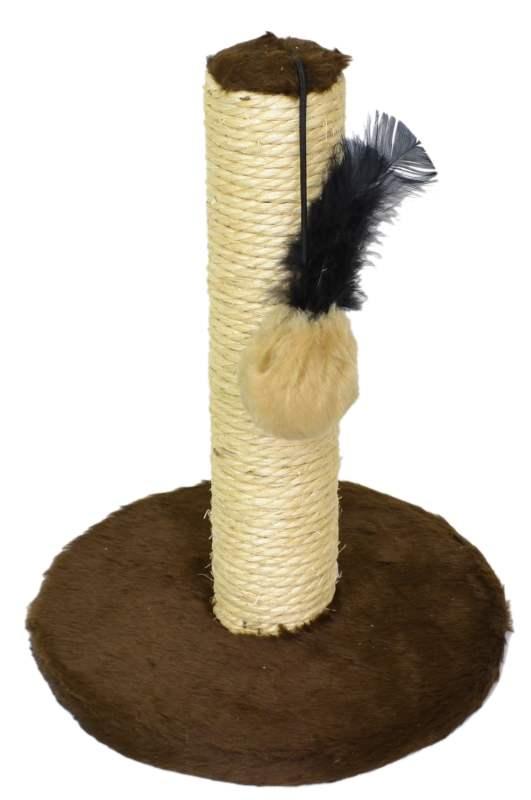 Arranhador para Gatos com bolinha brinquedo Plataforma M Estampa lisa Marrom 25x33cm