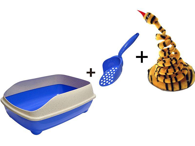 Bandeja sanitária banheiro para areia higiênica de gatos com pá coletora Pet Flex Azul + Brinquedo João Bobo Marrom Gatos Chalesco
