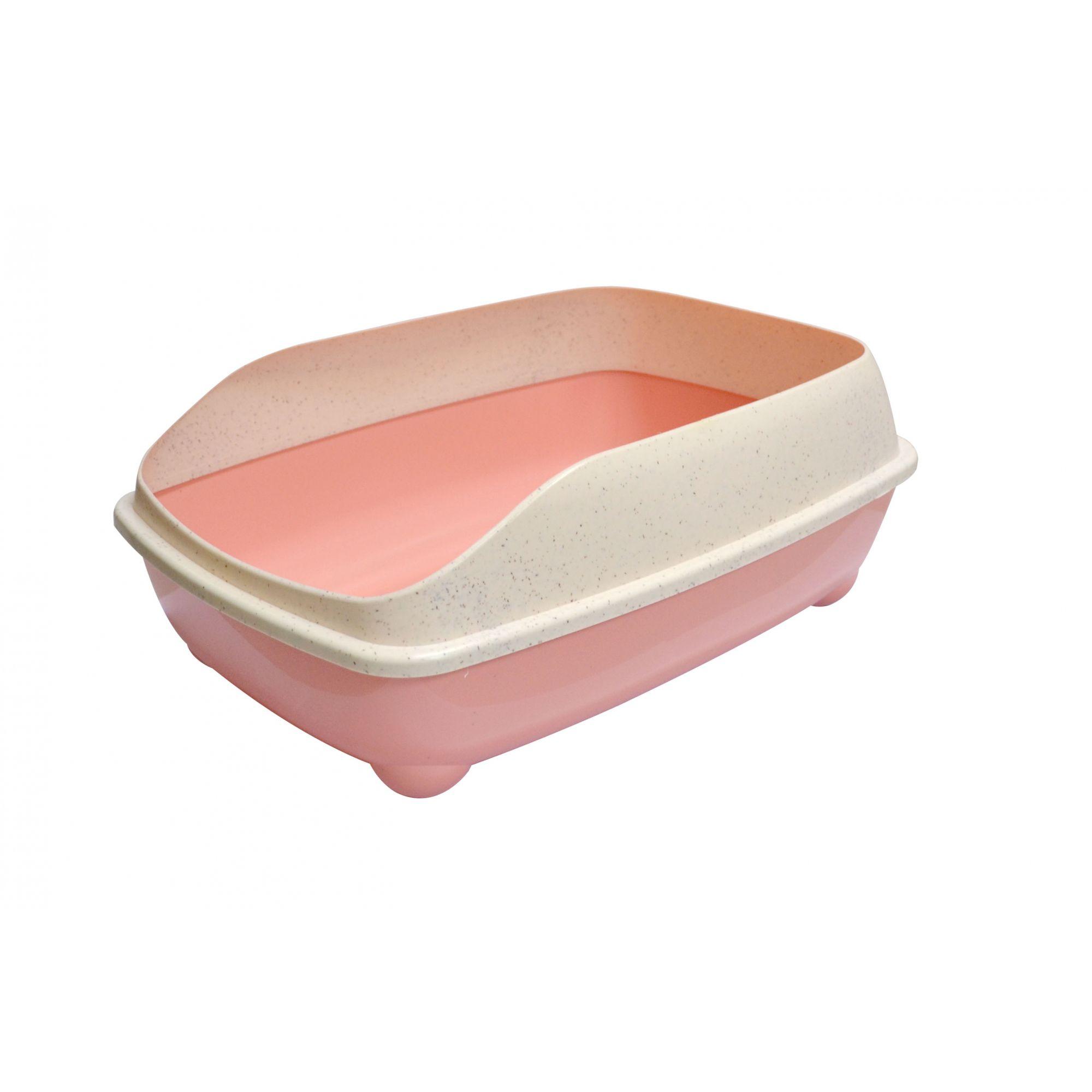 Bandeja sanitária para areia higiênica de gatos com pá coletora - Banheiro sanitário para gato com bordas Pet Flex Rosa Flamingo