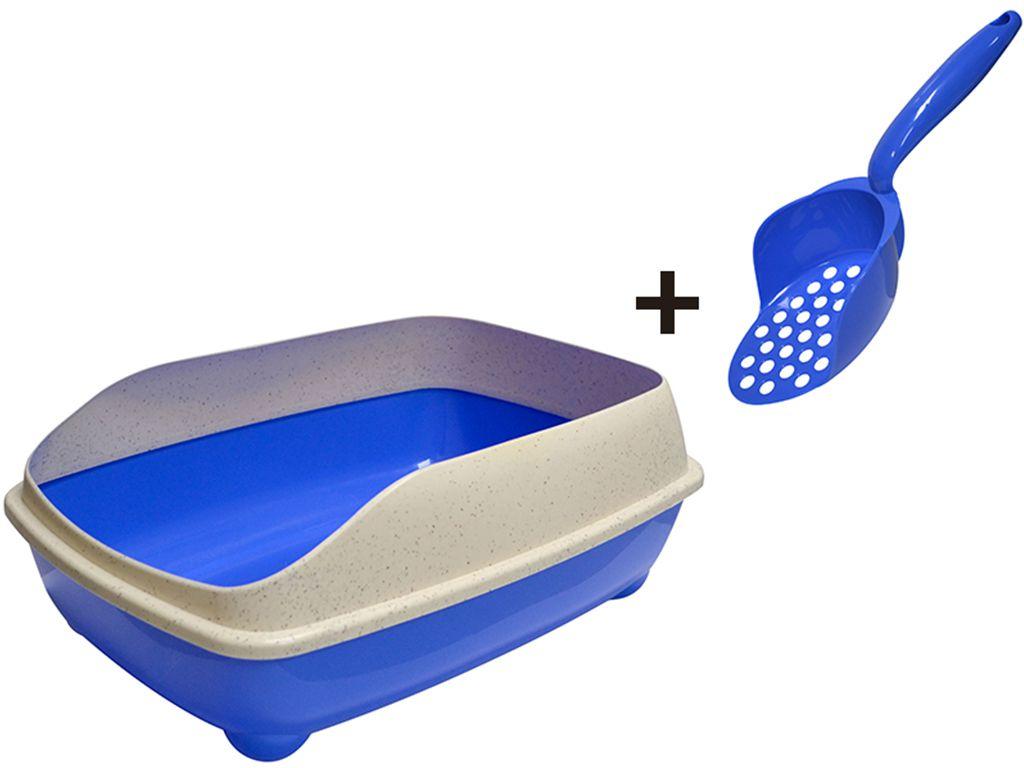 Bandeja sanitária para areia higiênica de gatos com pá coletora - Banheiro sanitário para gato com bordas Pet Flex Azul