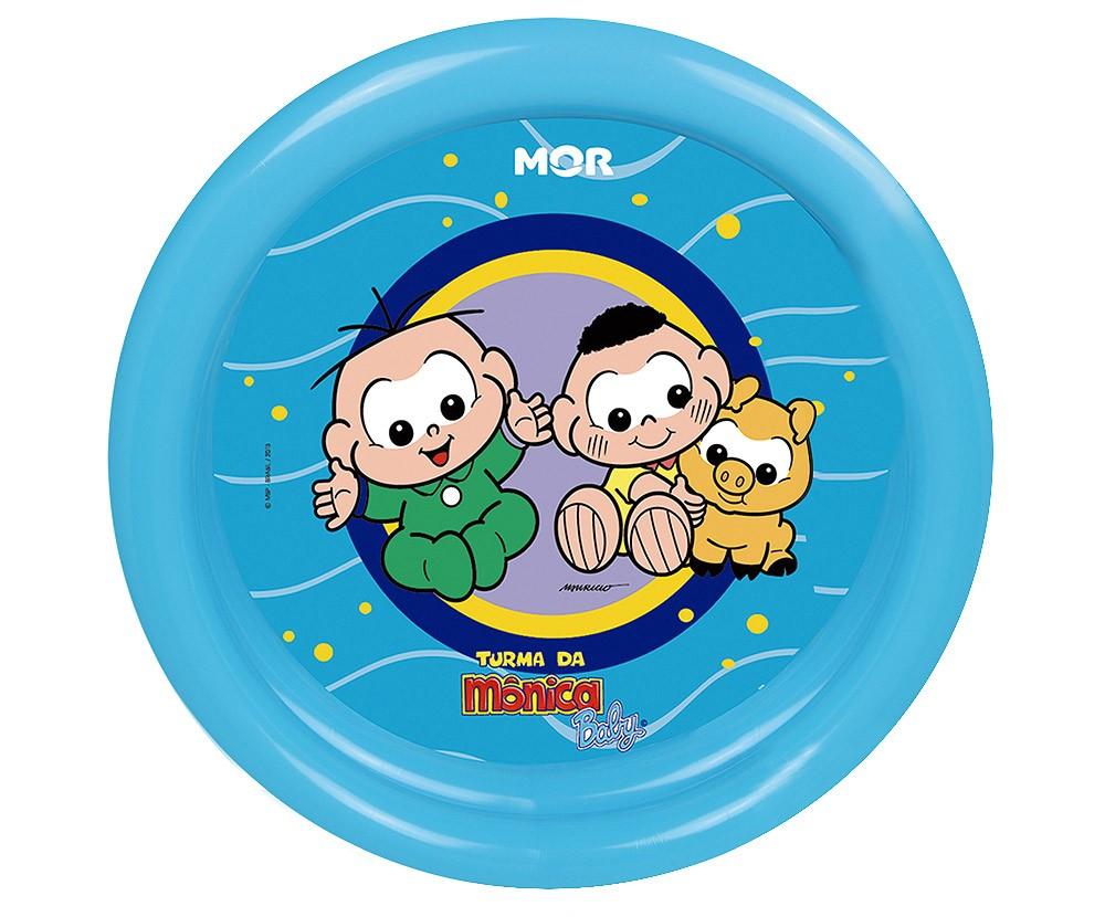 Banheira Piscina Inflável para babês e crianças 60L Turma Da Mônica Baby Azul 76x20cm