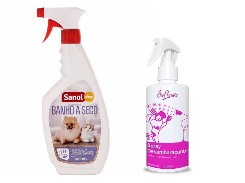 Banho a seco para Cachorros e Gatos Sanol +  Spray Fluido Desembaraçante para Pêlos BioFlorais