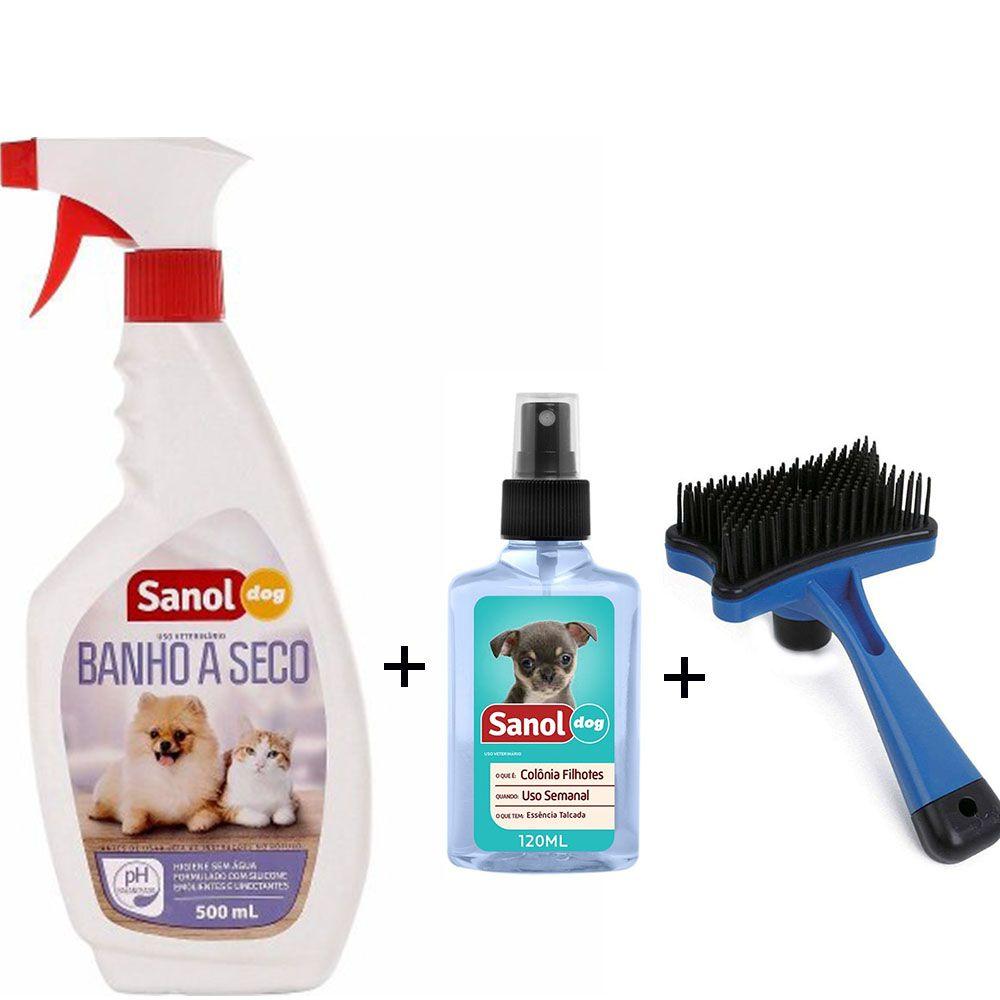 Banho a Seco Cachorro e Gato, Colônia Baby, Escova Rasqueadeira autolimpante - Limpeza higiene cães e gatos