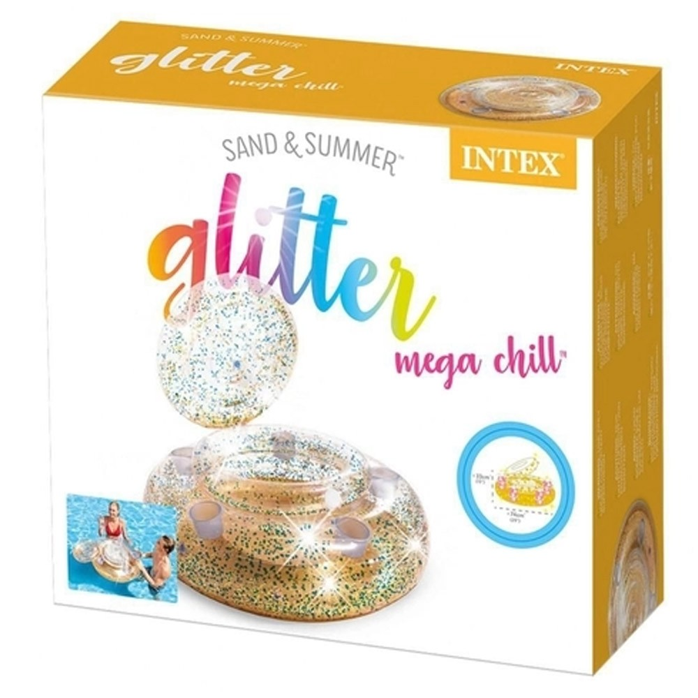Bar flutuante para piscina e mar Cooler Bar inflável brilhante mega Glitter Intex 56810