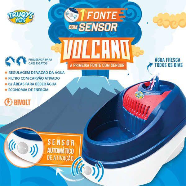 Bebedouro Fonte Elétrica para cães e Gatos Volcano com Sensor de Presença Truqys Pet Rosa