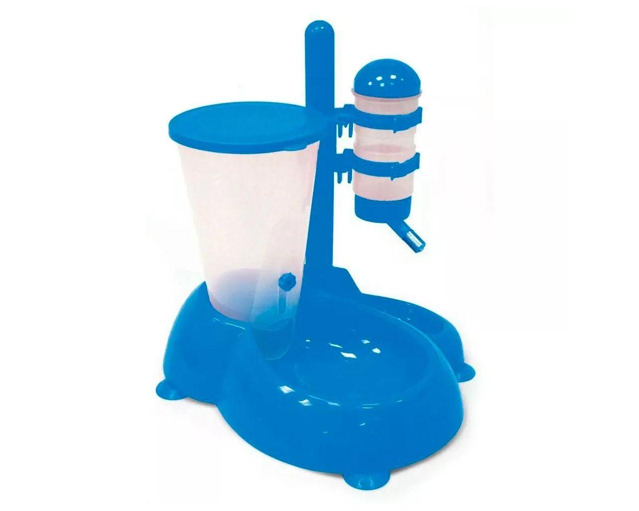 Bebedouro De Bilha E Alimentador Comedouro Automático para cachorro ou gato Chalesco Azul