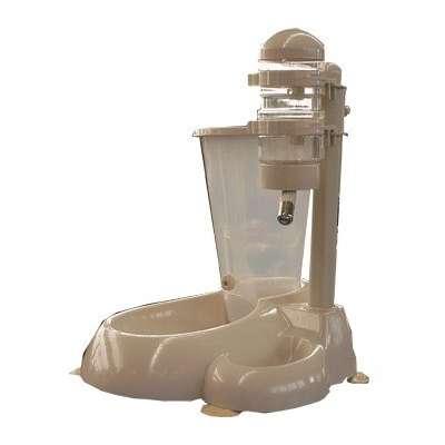 Bebedouro De Bilha E Alimentador Comedouro Automático para cachorro ou gato Chalesco Bege / Nude