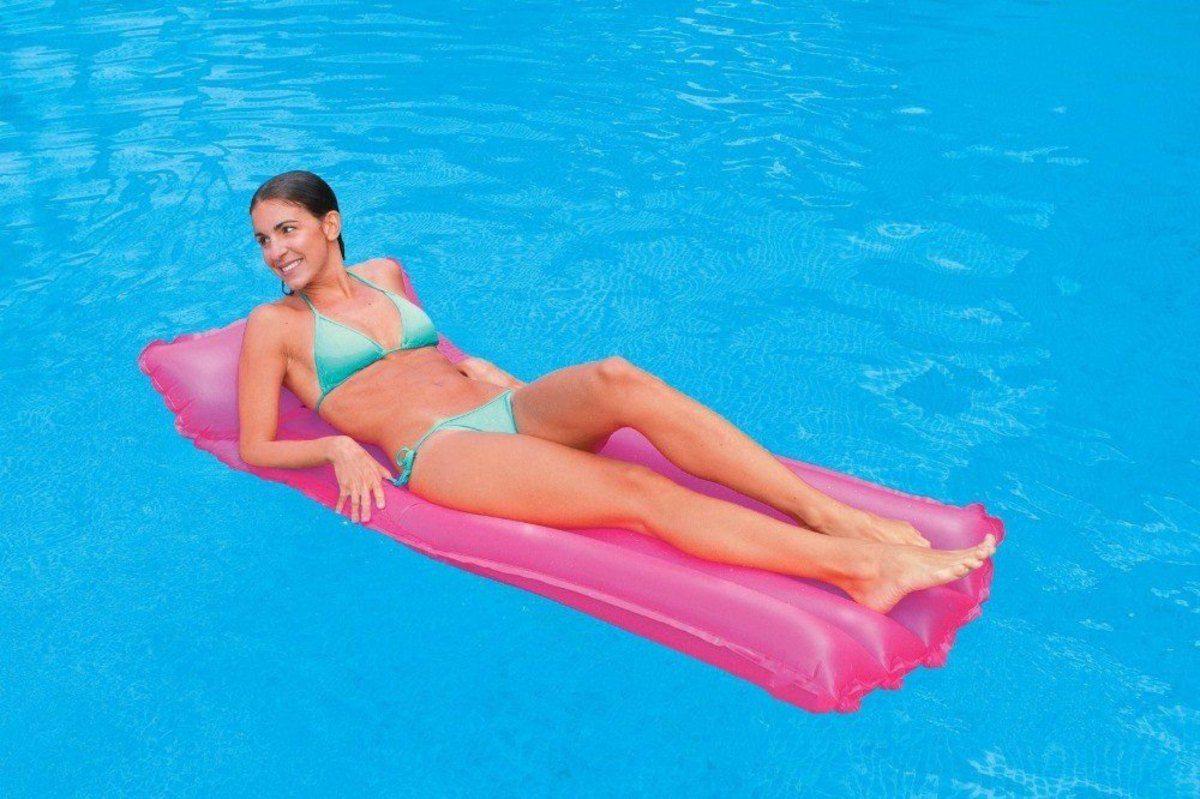 Boia Colchão de piscina - Colchão inflável Bronzeador Neon Rosa Pink 1,83m X 76cm Intex 59717-R