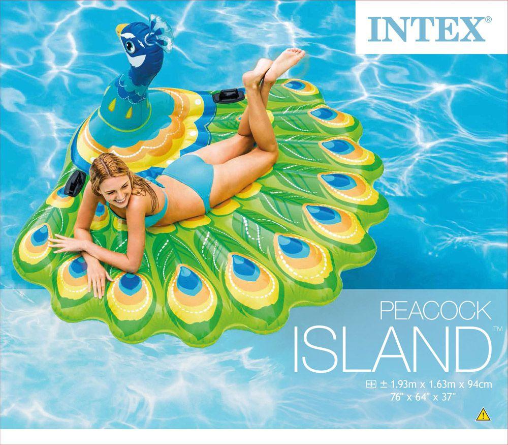 Boia Gigante Ilha inflável em Forma de Pavão Intex Suporta até 200Kg