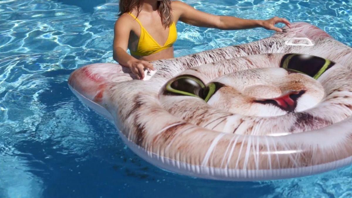 Boia colchão inflável Divertida para piscina Modelo Gato Gigante Intex 1,47 x 1,35m 58784