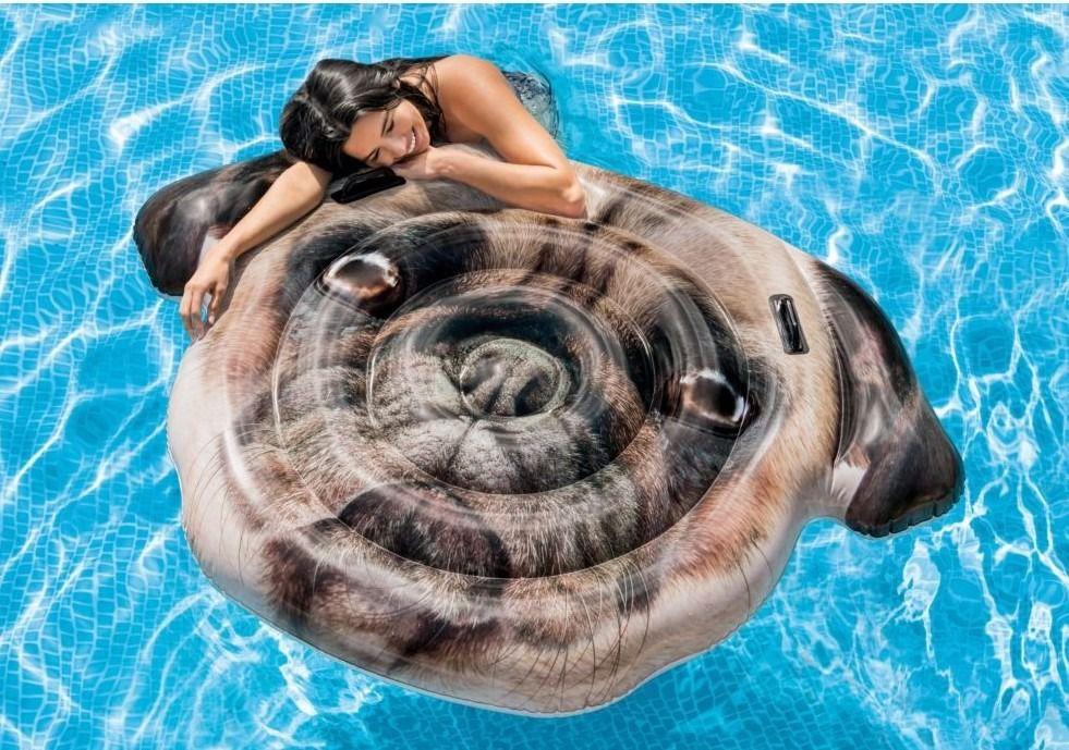 Boia colchão inflável Divertida para piscina Modelo Pug Gigante Intex 1,73X1,30m