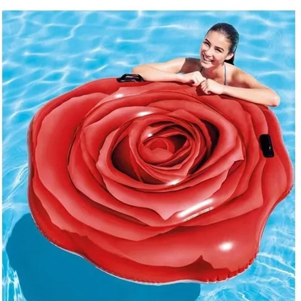 Boia Colchão Inflável Para Piscina Formato de flor Rosa Vermelha Intex 58783