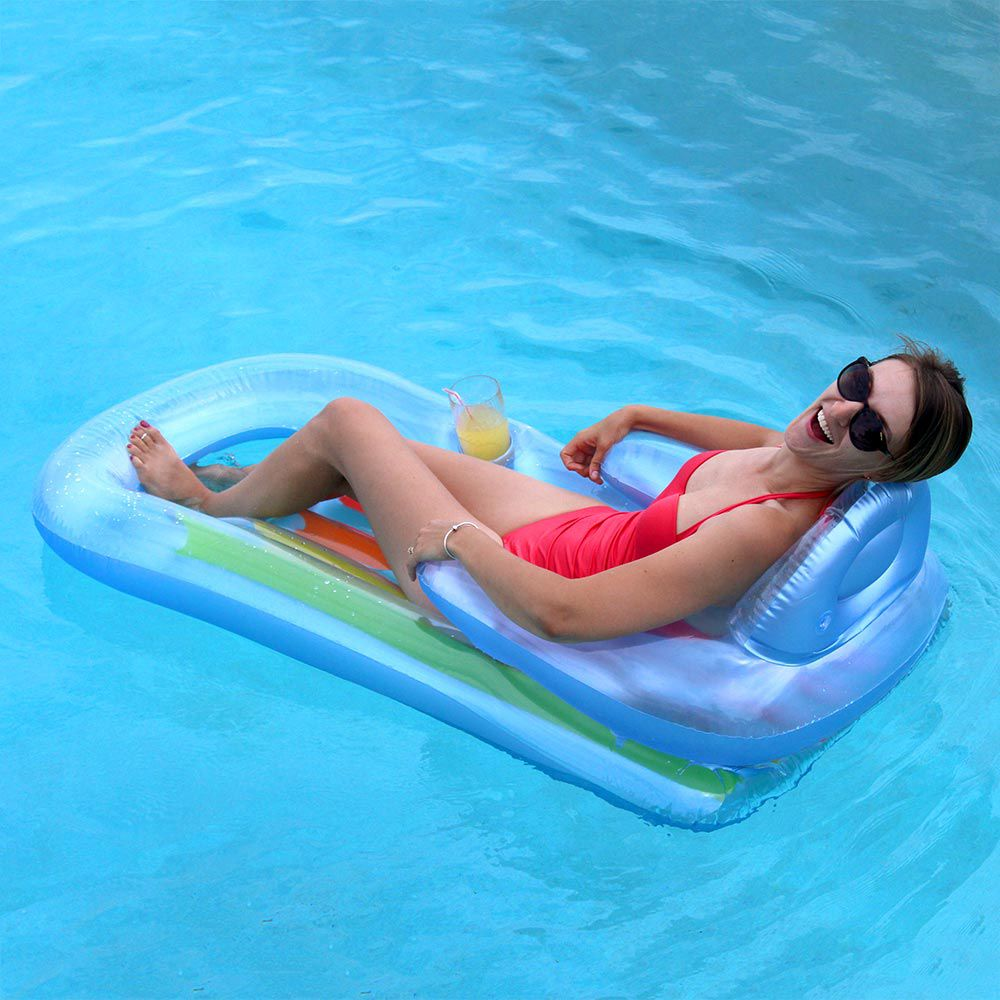 Boia colchão inflável para piscina King Cool C/ Encosto (160 X 85Cm) Azul e colorida 58802