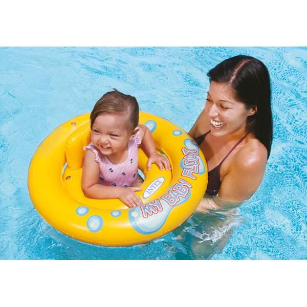 Boia Com Fralda Infantil Baby bote inflável para bebês de até 15Kg Meu primeiro Bote Intex 67cm 59574