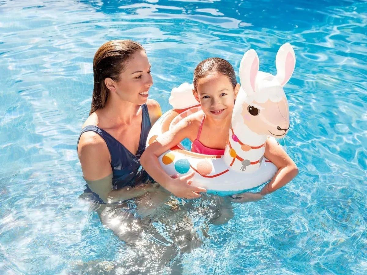 Boia infantil Inflável para praia piscina Cabeça Zoo Lhama Intex 86x58cm