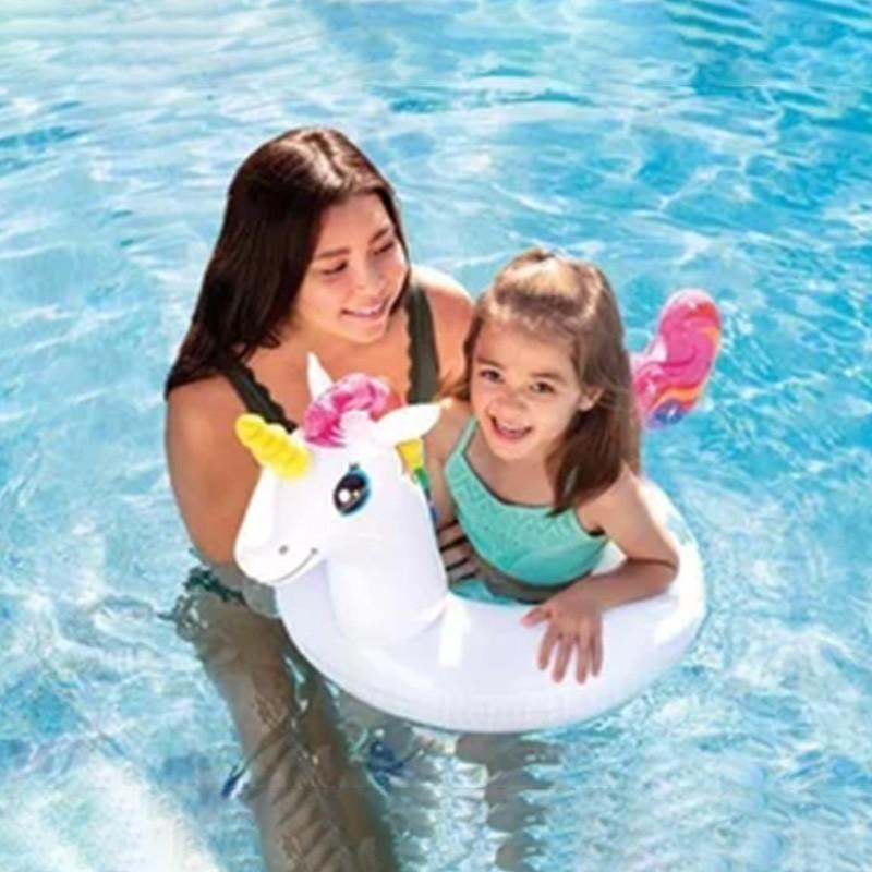 Boia infantil Inflável para praia piscina Cabeça Zoo Unicornio Intex 107x58cm