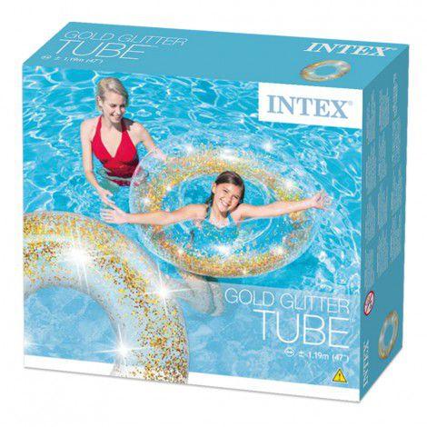 Boia inflável para Piscina redonda Tube Glitter intex 1,19m Transparente Dourado