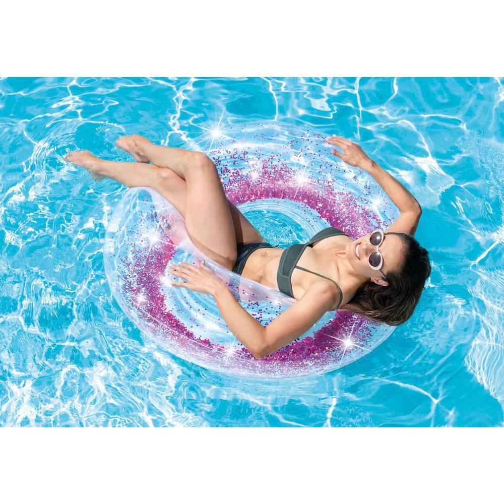 Boia inflável para piscina redonda tube glitter intex 1,19m transparente pink
