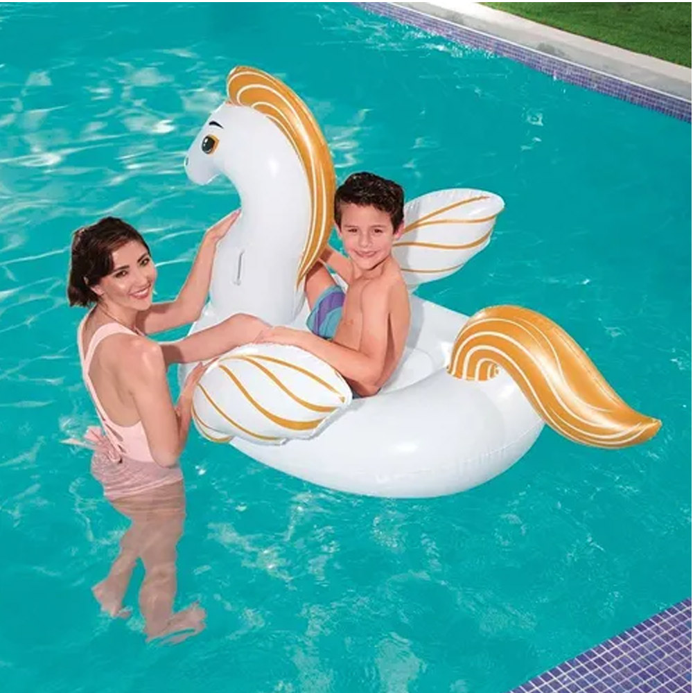 Boia Inflável para piscina Pégasus Cavalo Branco Dourado  (Boia das Blogueiras Famosas) 1,52x95cm