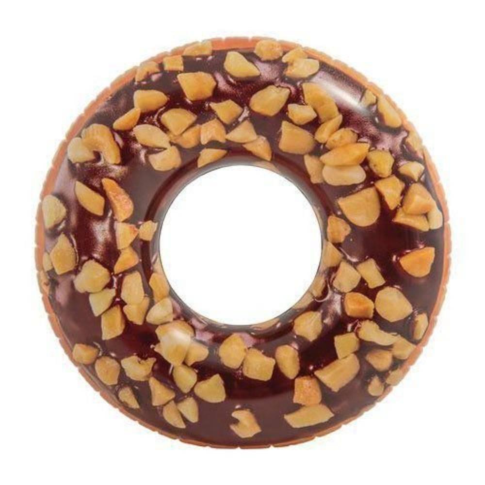 Boia Inflável para piscina Rosquinha Donut Chocolate crocante 99cm de diâmetro Boia Divertida Redonda Intex 56262
