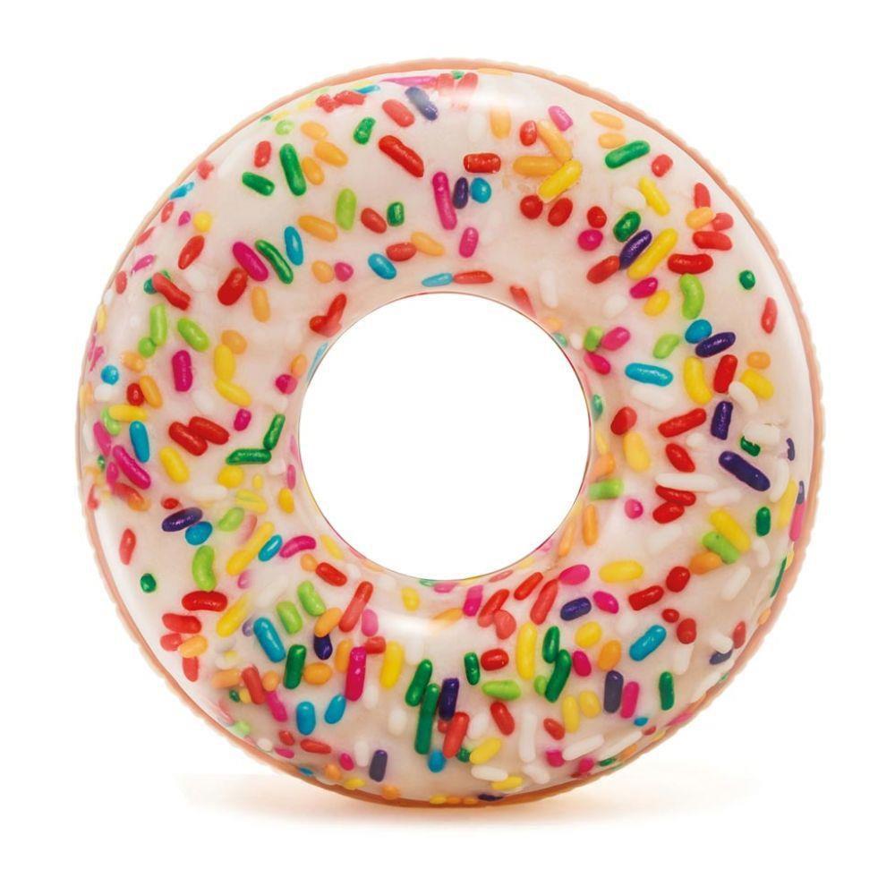 Boia Inflável para piscina Rosquinha Donut Granulado 99cm de diâmetro Boia Divertida Redonda Intex 56263
