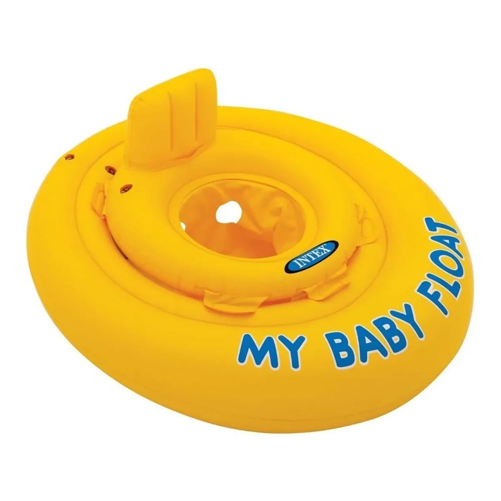 Boia para Bebe com assento Infantil inflável Meu primeiro Bote Intex 70cm até 11Kg
