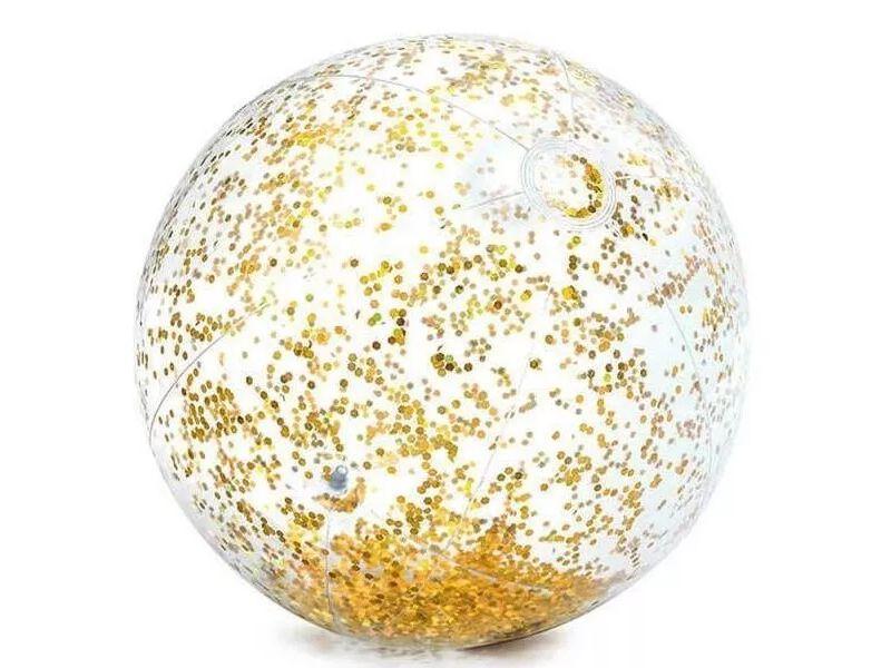 Bola De Praia Piscina Inflável Transparente com Glitter Brilhante Dourado 71cm Intex 58070-D