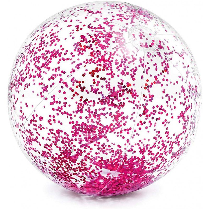 Bola De Praia Piscina Inflável Transparente com Glitter Brilhante Rosa Pink 71cm Intex 58070-R