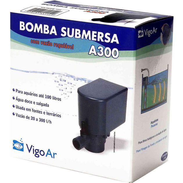 Bomba de oxigenação para Aquário Submersa A300 VigoAr Aquários até 100L