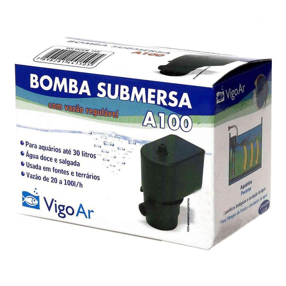 Bomba para Aquário Submersa A100 Vigo Ar 127v