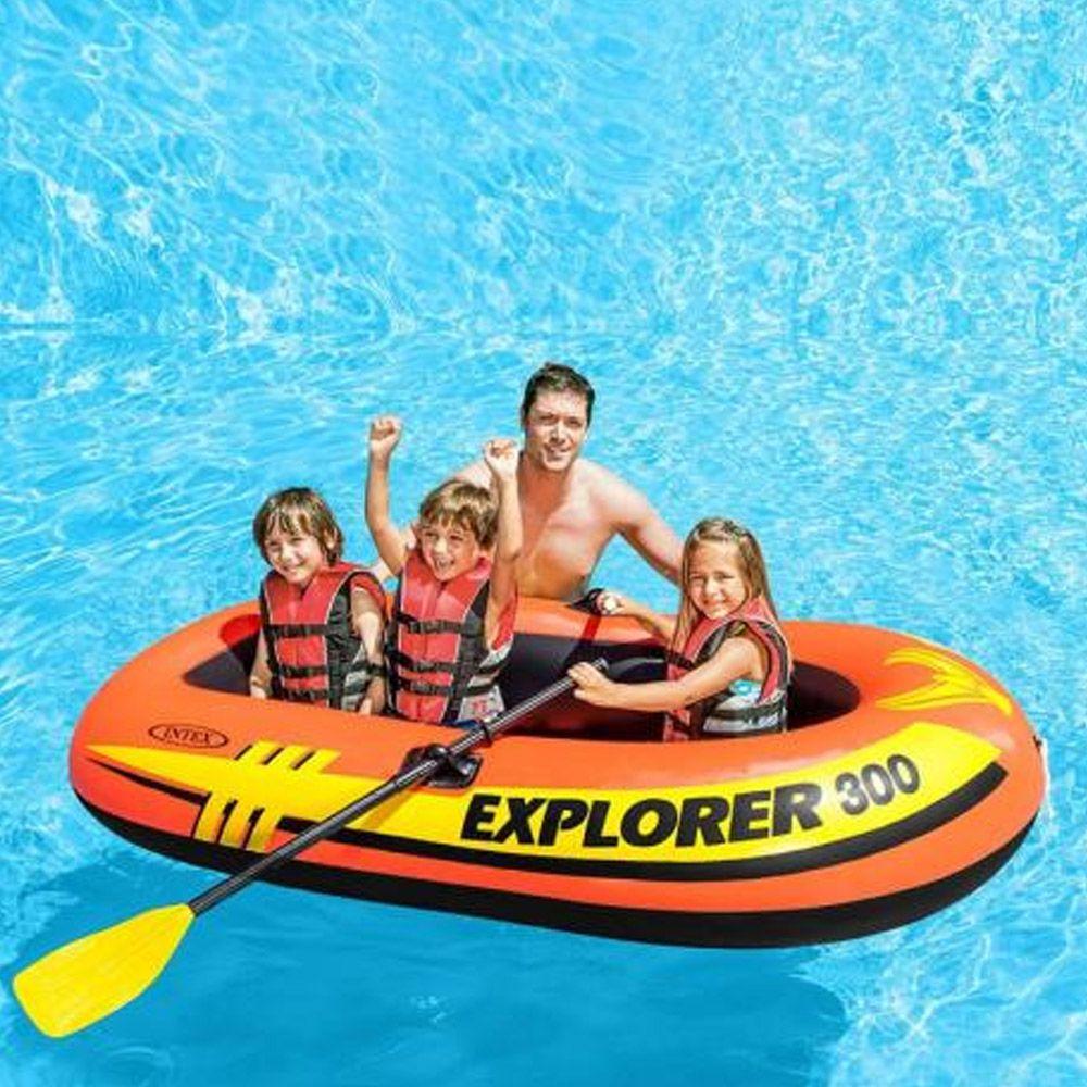 Bote Inflável Mar, piscina, lago, represa, rio Explorer 300 com par de remos e bomba Intex - 2,11m X 1,17m X 41cm 58332 Até 186kg