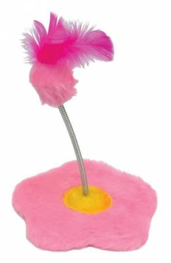 Brinquedo de gato Arranhador com chocalho Flor Pelúcia São Pet 18x19cm Rosa