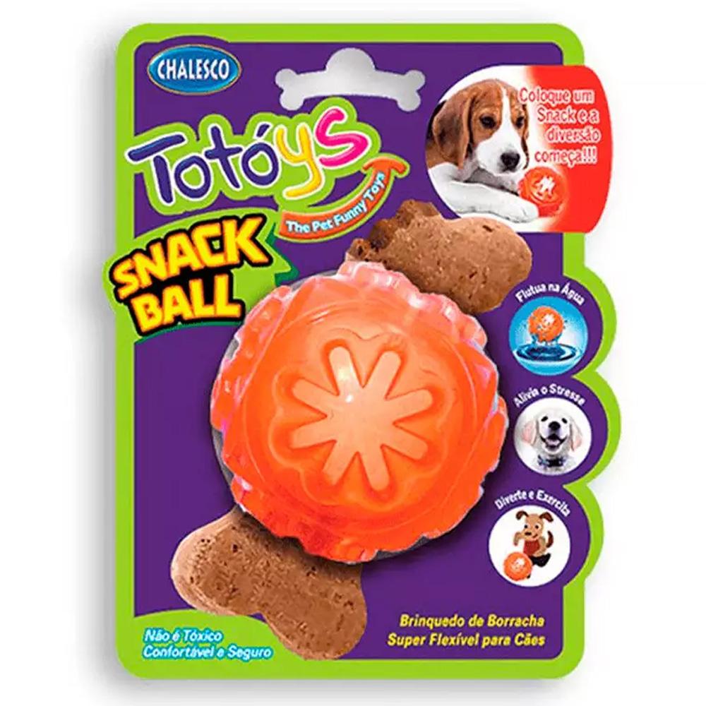 Brinquedo Bola para Cães Totóys Bola porta ração e petiscos Snack Ball de Borracha Chalesco