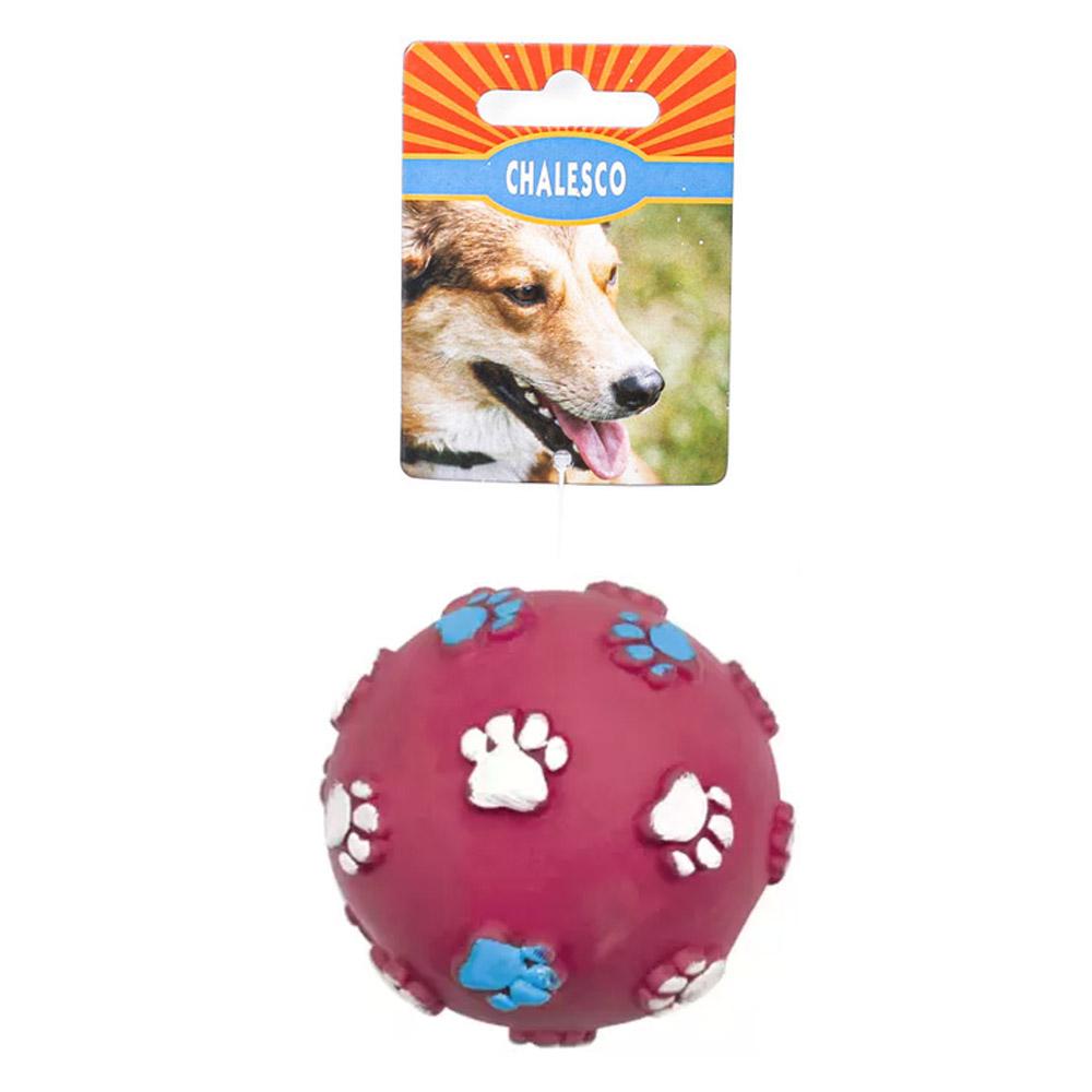 Brinquedo Bola para Cães vinil patinhas com barulho Chalesco