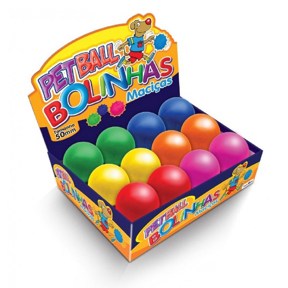 Brinquedo Bolinha para Cães super resistente de borracha maciça 50mm Caixa colorida 12 unidades